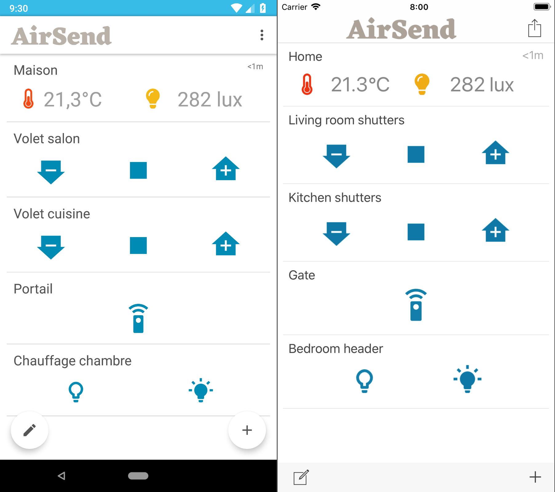 AirSend mobiles screenshots